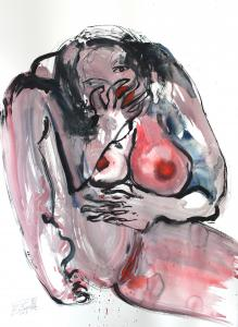 untitled Lady G, watercolour and ink on paper